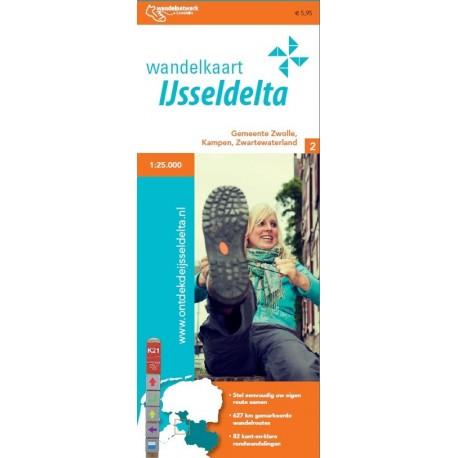 Wandelkaart IJsseldelta, gemeenten Zwolle, Kampen en Zwartewaterland
